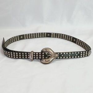 Vintage Paris Usmeco Black Leather and Silver Belt
